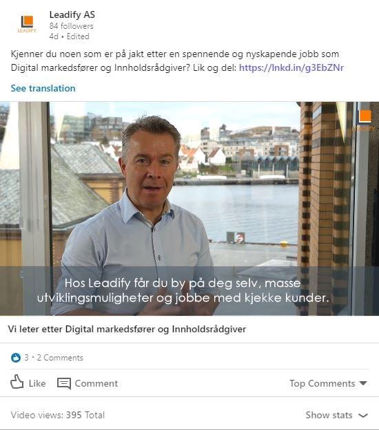 Visninger på LinkedIn Company page