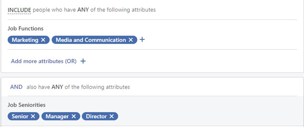 I LinkedIn kan du filtrere med jobbfunksjon og ansiennitet